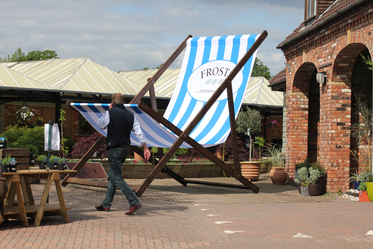 we were commissioned to build and install a giant  metre high deck chair for frosts garden centres to promote their summer beach themed campaign at their : metre giant umbrella